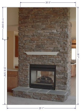 Cultured stone fireplace with mantel